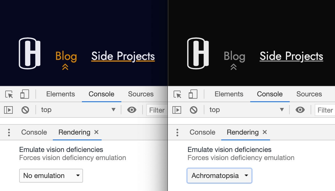 Screenshot comparing this websites navigation in colour and black and white.